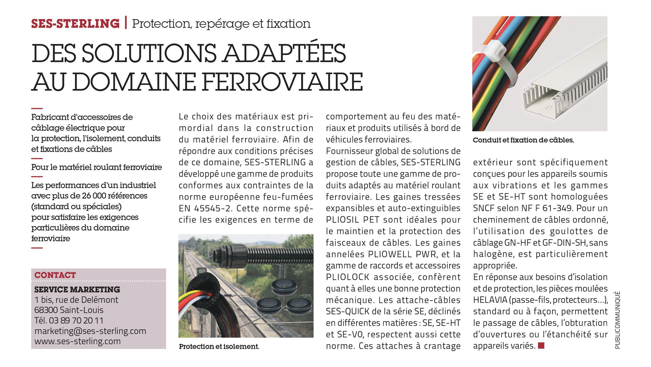 Parution dans l'édition n° 3601 de L'Usine Nouvelle (mars 2019) - Des solutions adaptées au domaine ferroviaire