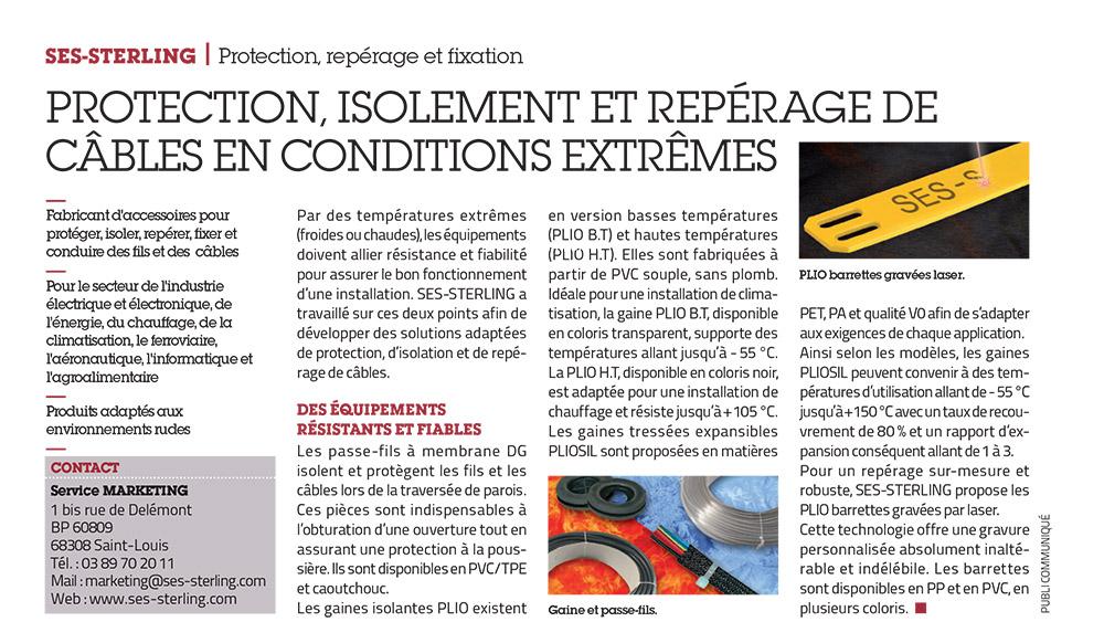 SES-STERLING : protection, isolement et repérage en conditions extrêmes (L'usine nouvelle - février 2017)