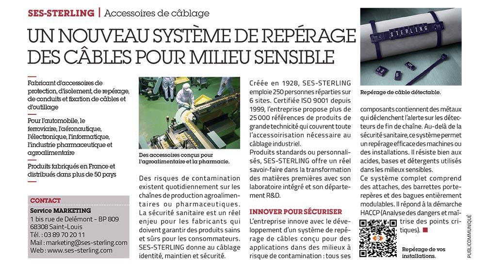 SES-STERLING : repérage de câbles en milieu sensible (L'usine nouvelle - mai 2015)