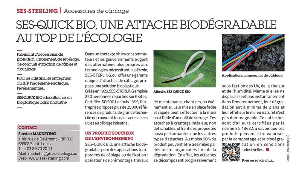 SES-STERLING : SES-QUICK BIO, l'innovation du biodégradable (L'usine nouvelle - juin 2015)