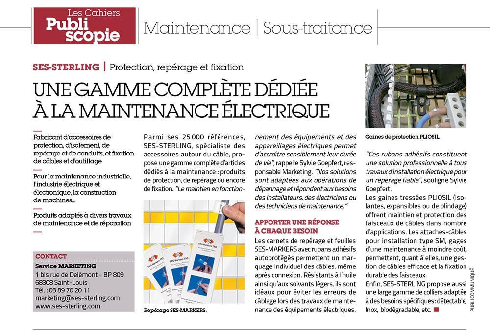 SES-STERLING : une gamme dédiée à la maintenance électrique (L'usine nouvelle - juillet 2016)