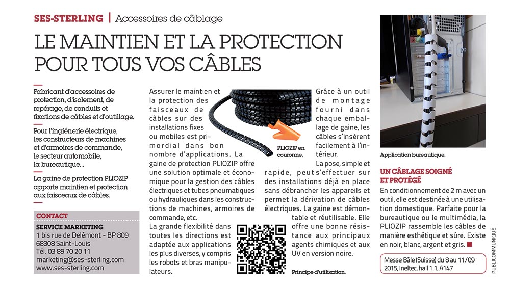 SES-STERLING : Le maintien et la protection des câbles (L'usine nouvelle - septembre 2015)