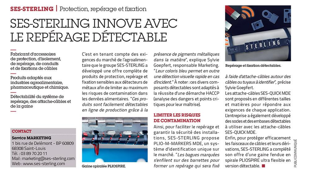 SES-STERLING : innovation du repérage détectable (L'usine nouvelle - octobre 2017)