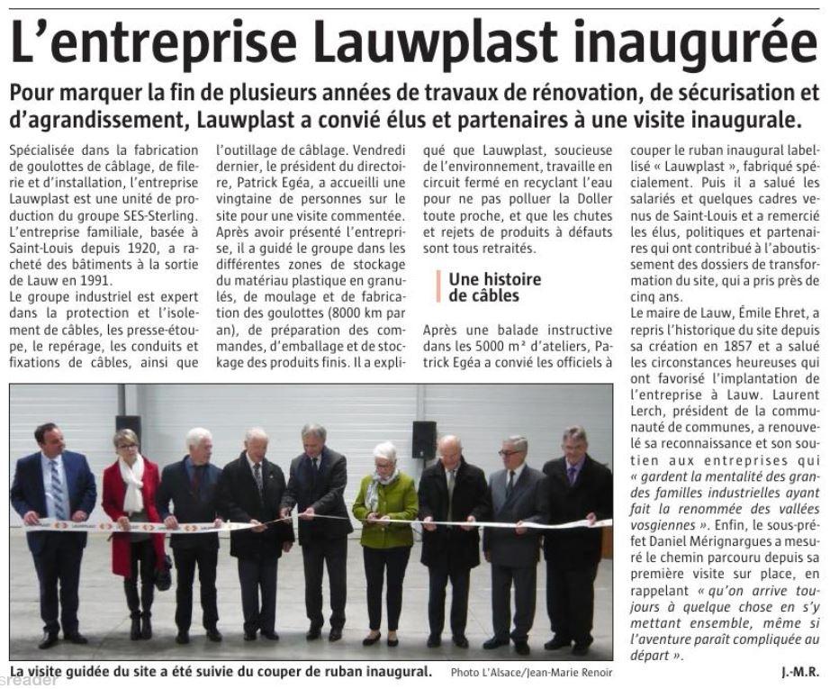 Inauguration de LAUWPLAST (L'Alsace - Novembre 2018)