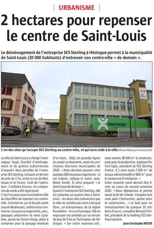 Début du projet du nouveau siège SES-STERLING à Hésingue (L'Alsace - Novembre 2018)