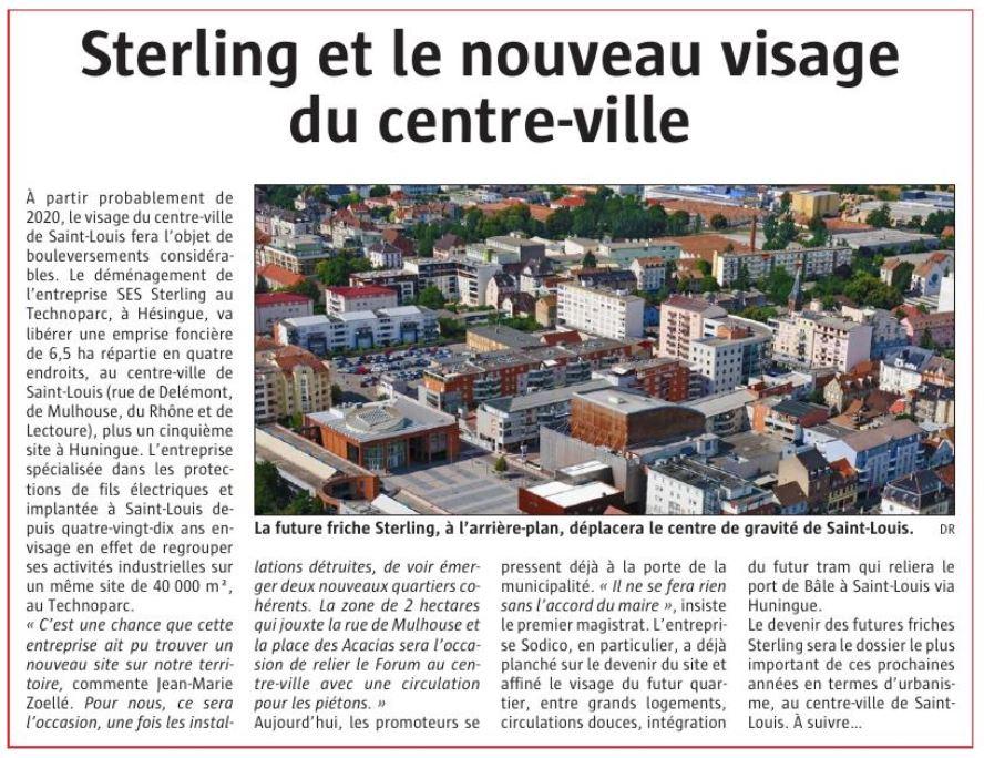 Sterling et le nouveau visage du centre ville (Journal L'Alsace - Novembre 2018)