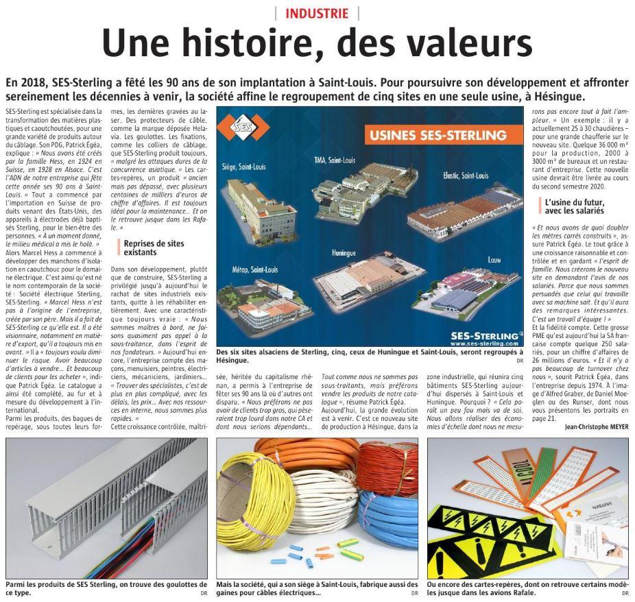 SES-STERLING : Tout autour du câble depuis 1928 (L'Alsace - Décembre 2018)