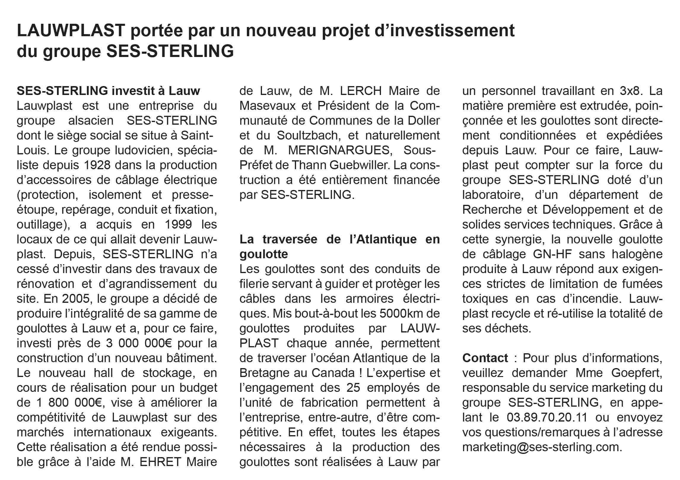 LAWPLAST - Un nouvel investissement (2017)