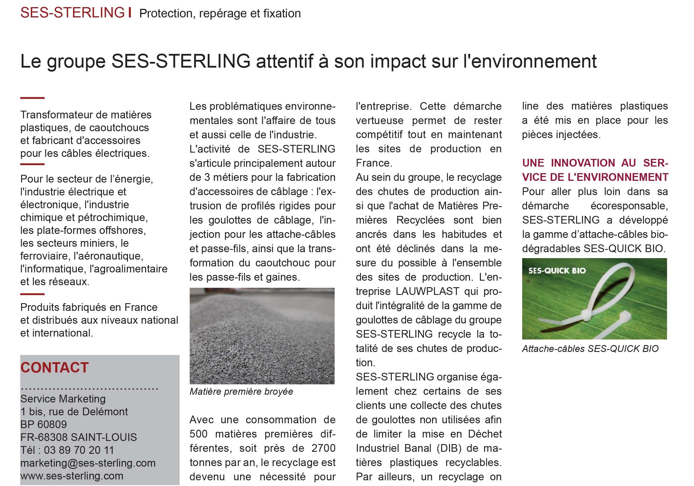 SES-STERLING : Une entreprise respectueuse de l'environnement (L'usine Nouvelle - Décembre 2018)