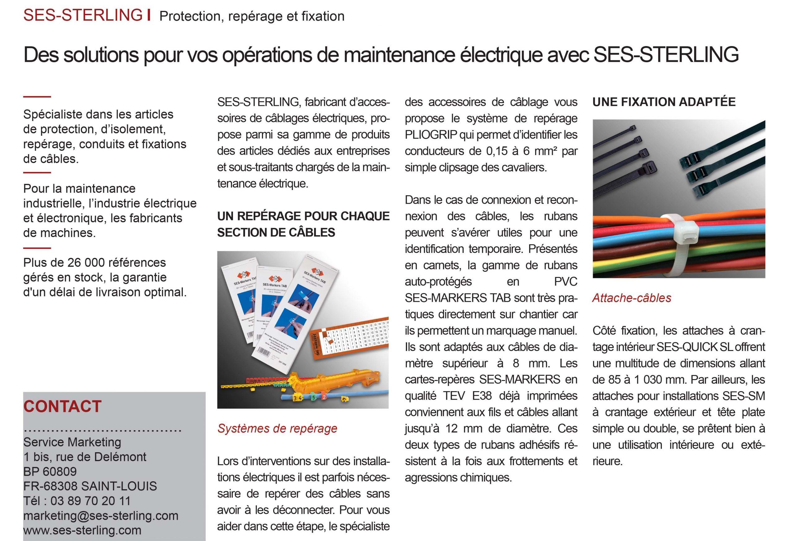 L'usine nouvelle - Juin 2019 : Des solutions de maintenance avec SES-STERLING