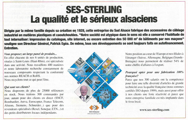 SES-STERLING : La qualité Alsacienne (Entreprendre - 2015)