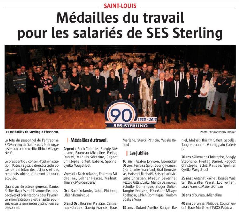 Jubilés SES STERLING 2018 - Les salariés à l'honneur.