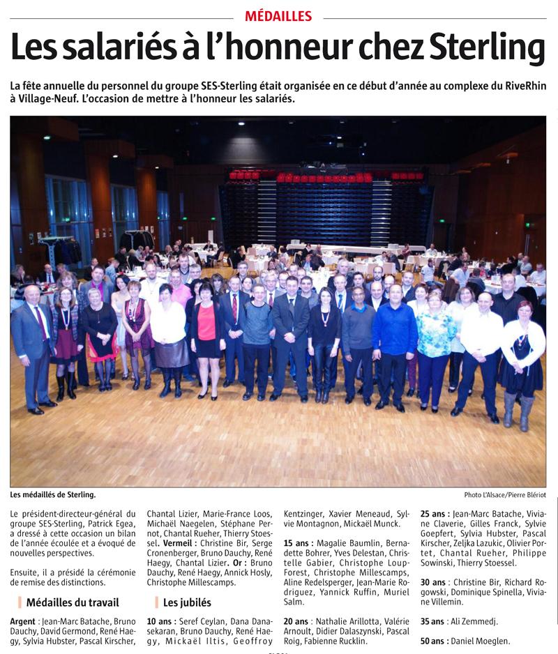 Jubiliés 2016 : les salartiés SES-STERLING à l'honneur (L'alsace Février 2016)