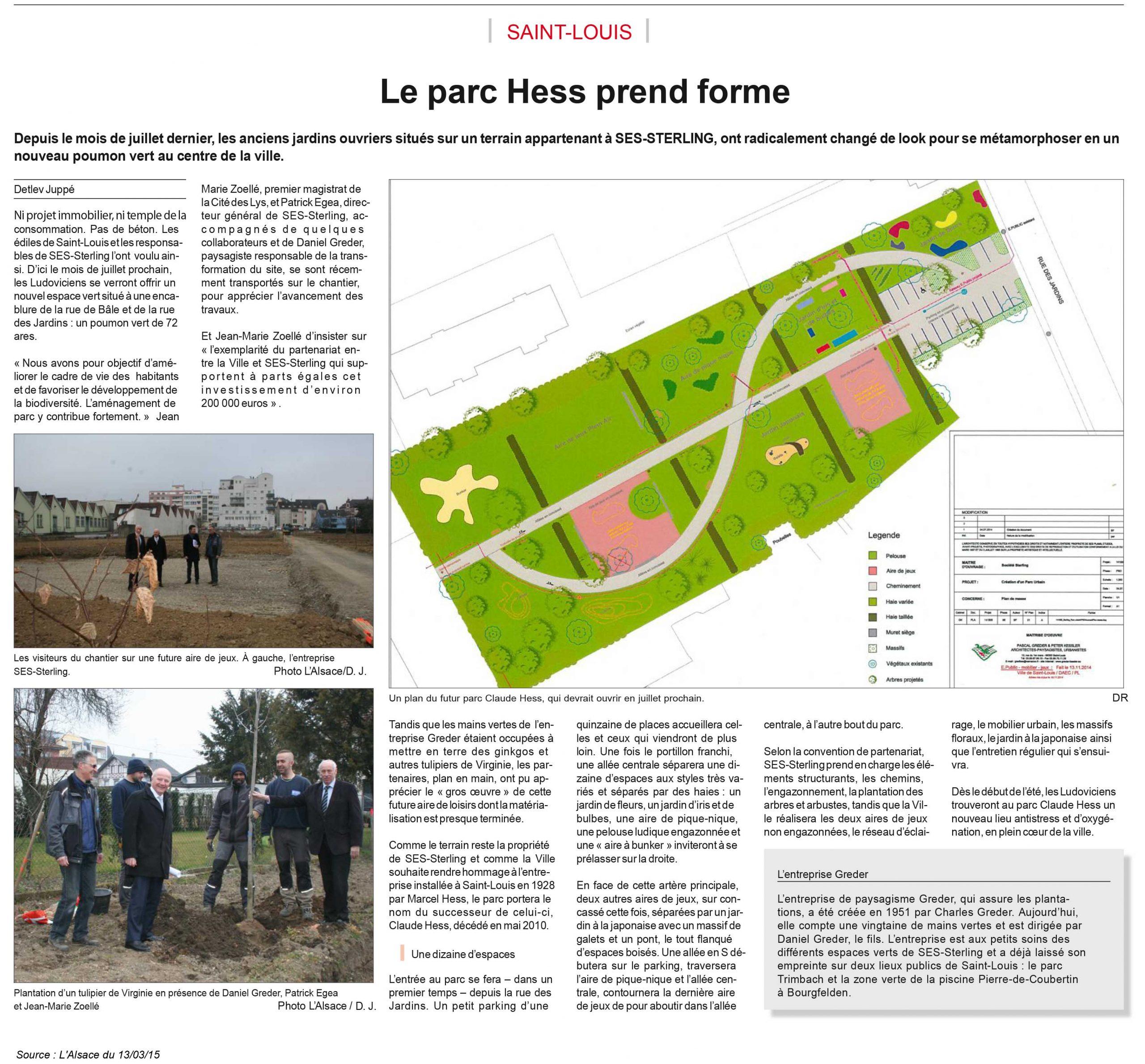 SES-STERLING : construction du parc HESS (L'Alsace - mars 2015)