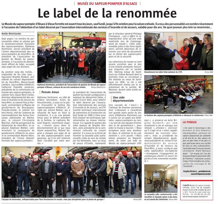 SES-STERLING rend hommage au sapeurs-pompiers d'Alsace (L'Alsace -Avril 2018)