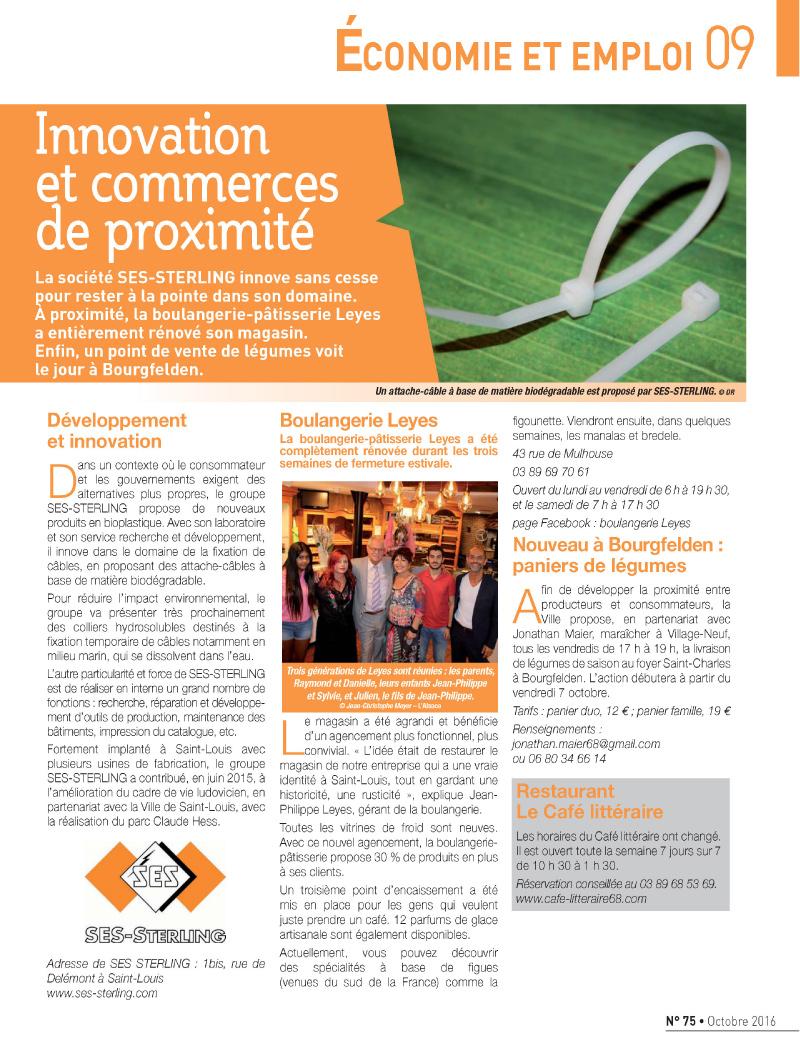 SES-STERLING à la pointe de l'innovation (Saint-Louis mag - Octobre 2016)