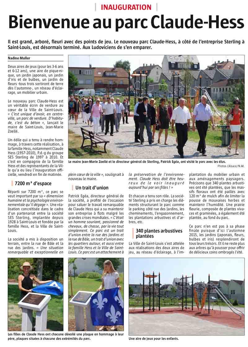 Inauguration du parc Claude Hess (L'Alsace -2015)