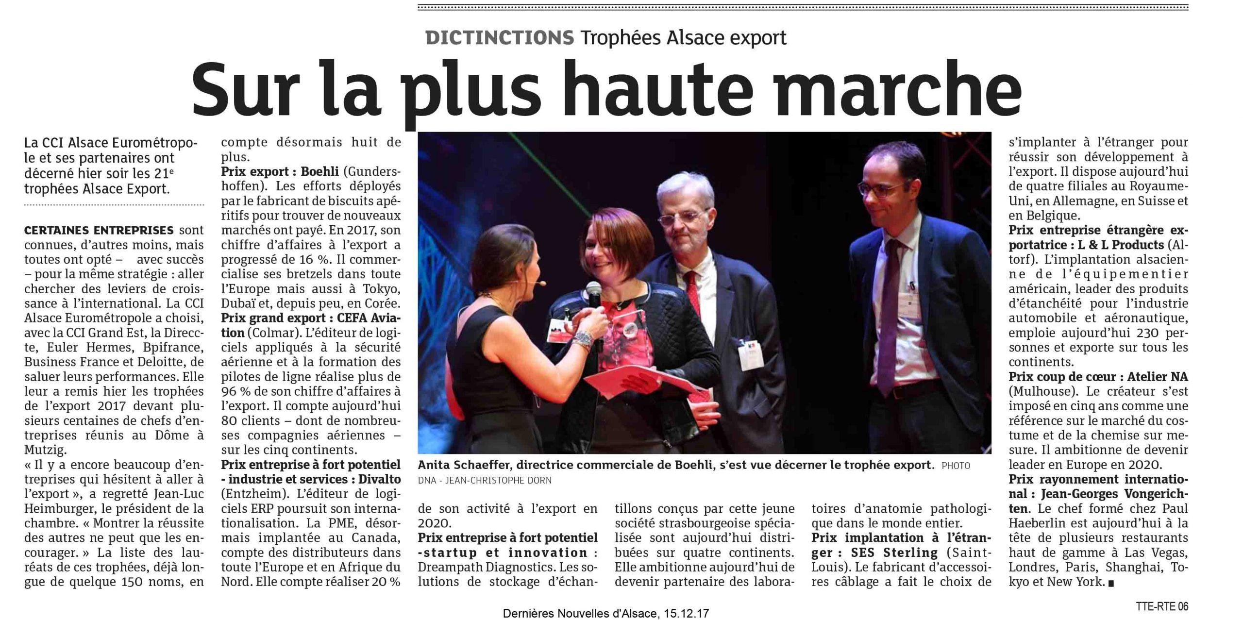 SES-STERLING gagnant du trophée export de la CCI Alsace (DNA - Décembre 2017)