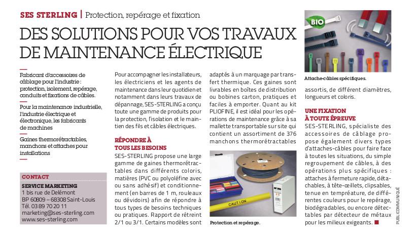 SES-STERLING : des solutions pour vos travaux de maintenance électrique (L'usine Nouvelle)