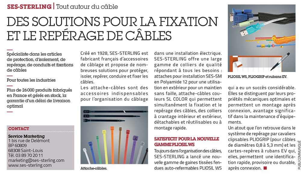 Article de presse fixation et repérage de câble SES-STERLING