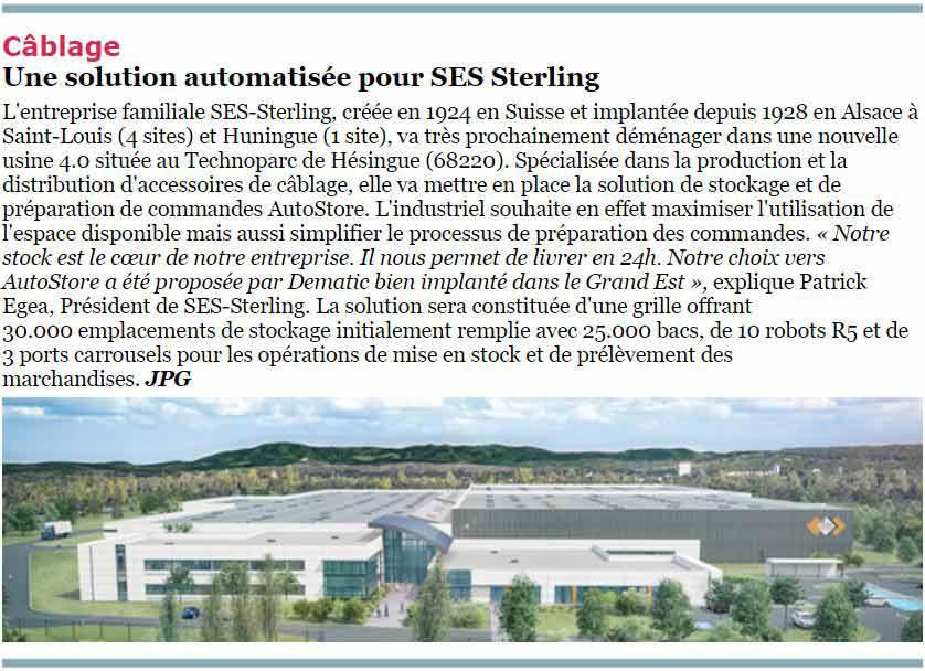 Article SES-STERLING de la newsletter supply chain le village du 6 avril 2020