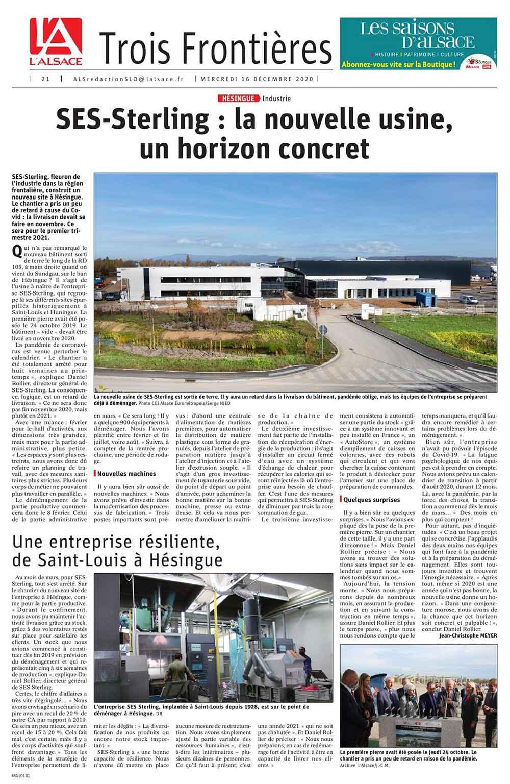Article de presse du journal l'Alesace de décembre 2020