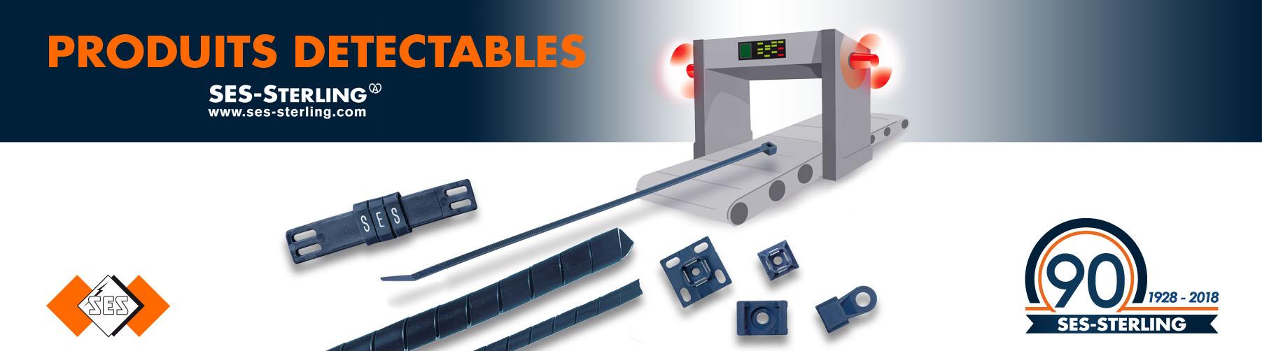 Accessoires de cablâge détectables au détecteur à métaux